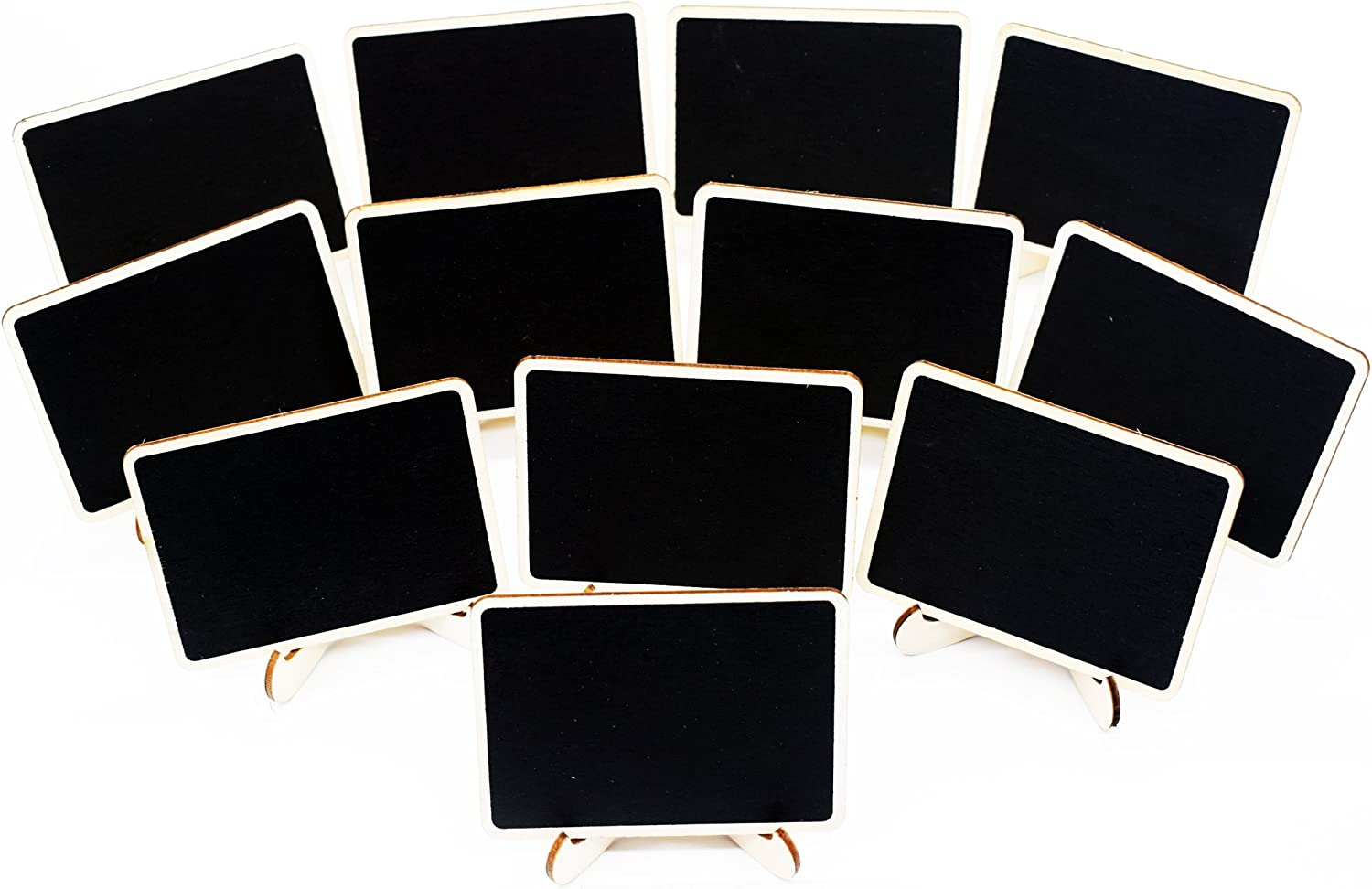 12 PACK Mini Blackboard Place Card With Support Easel for Message Board Signs Wedding Table Holders Table Number Holders Name Place Card Holder Food Signs With Wet Towel Wip Off (Black-S-M)
