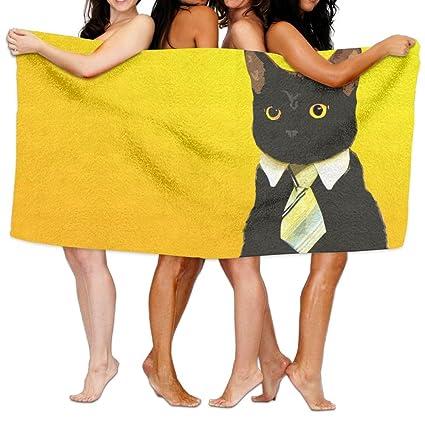 Toallas de playa unisex negras para gatos, toallas de baño para adolescentes, niñas,