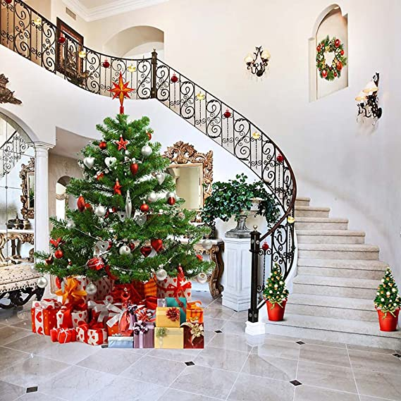 Vinilo Photography interior escalera decorada casa árbol de Navidad cajas de regalo de familia feliz Navidad vacaciones fondo de fotografía de estudio 10 x 10 FT: Amazon.es: Electrónica
