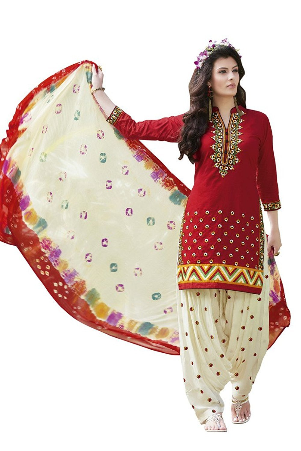 Dream Angel Fashion DreamAngel Women's Cotton Patiala Salwar Suit (Ready Made) (Medium) by Dream Angel Fashion (Image #1)