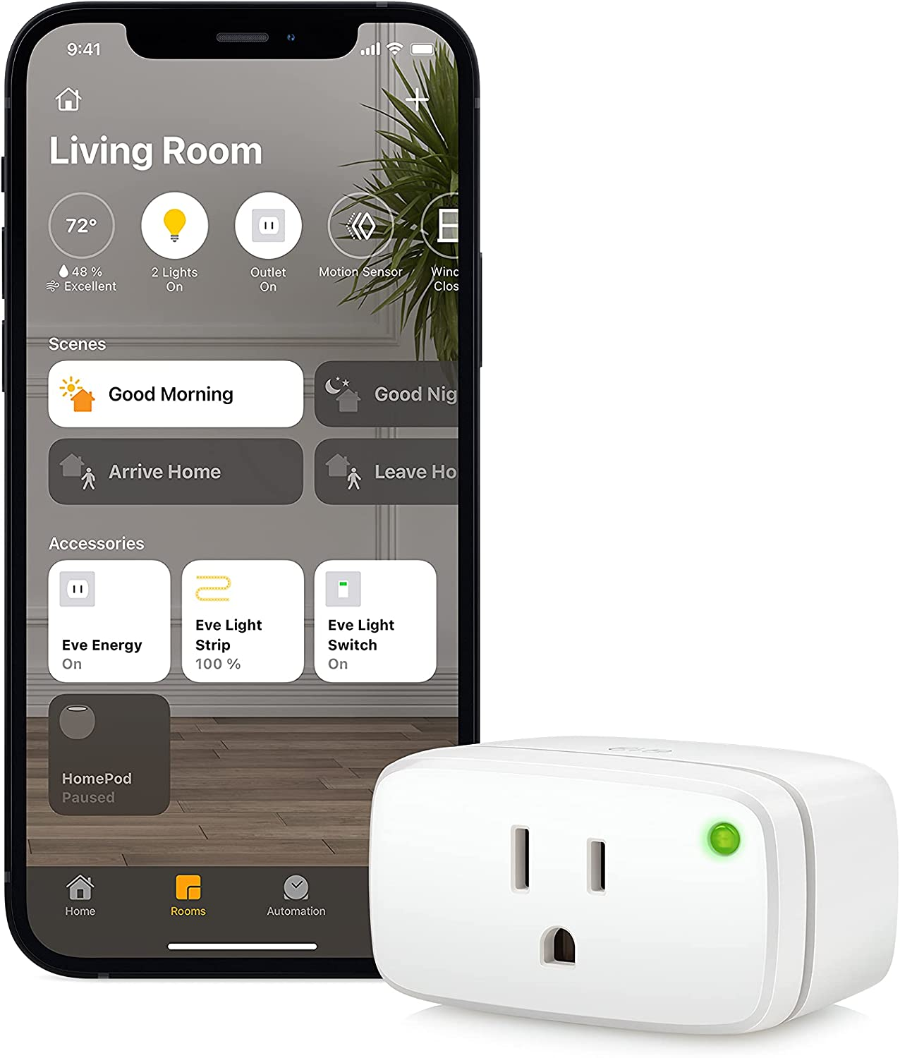 Eve Energy - Apple HomeKit Smart Home, Smart Plug & Power Meter with Built-In Schedules & Switches, App Compatibility, Bluetooth and Thread