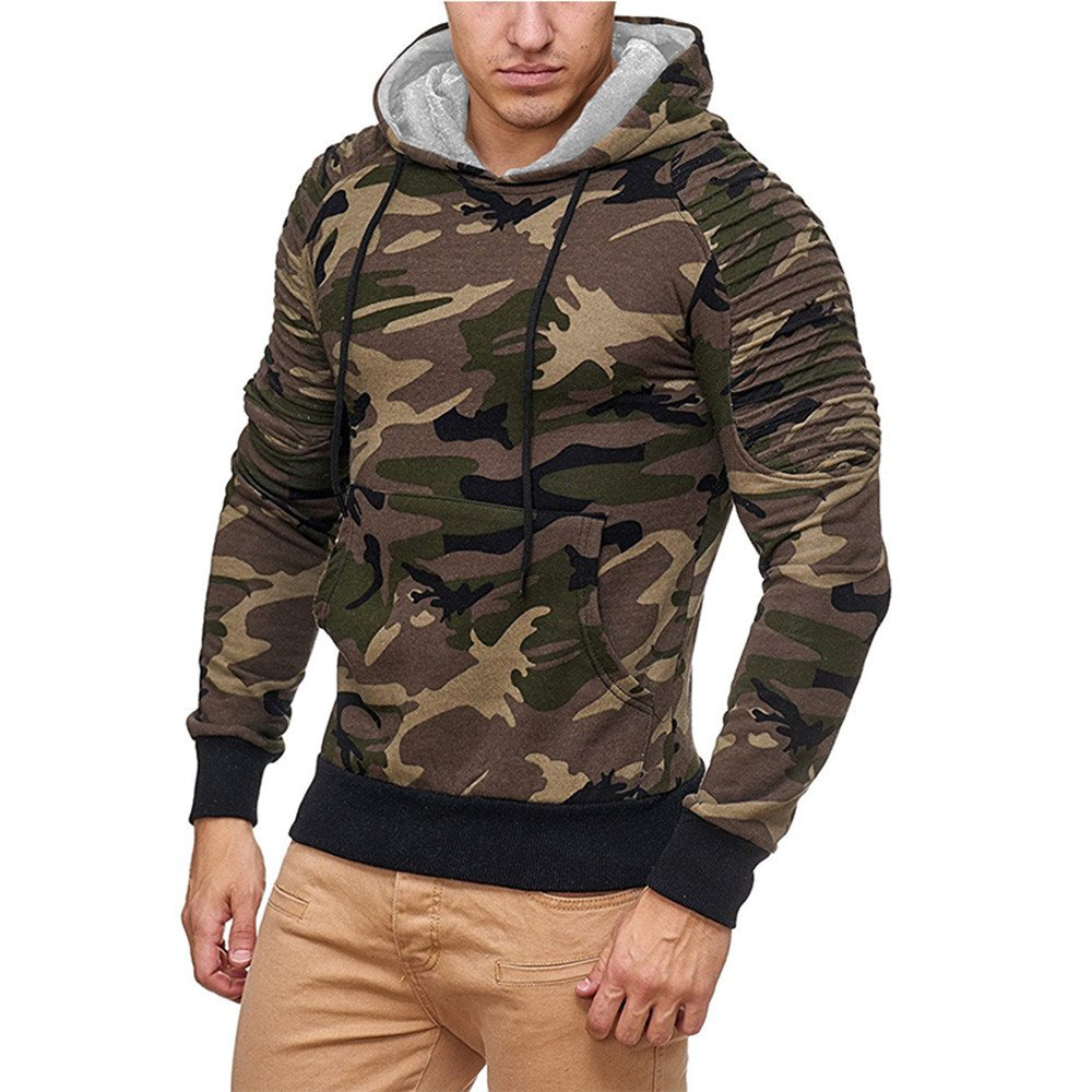 iZHH Mens Outwear Hooded Casual Military Camouflage Patchwork Long Sleeve Hoodie Top Blouse