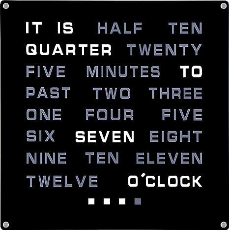 Reloj de pared de palabras LED, muestra la hora en texto (en inglé