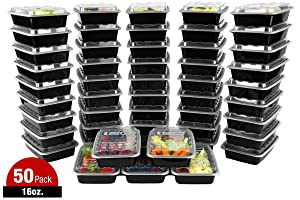 ISO Meal Prep Containers with Lids Certified BPA-Free Stackable Reusable Microwave/Dishwasher/Freezer Safe 16 oz, 50 Count, BLACK