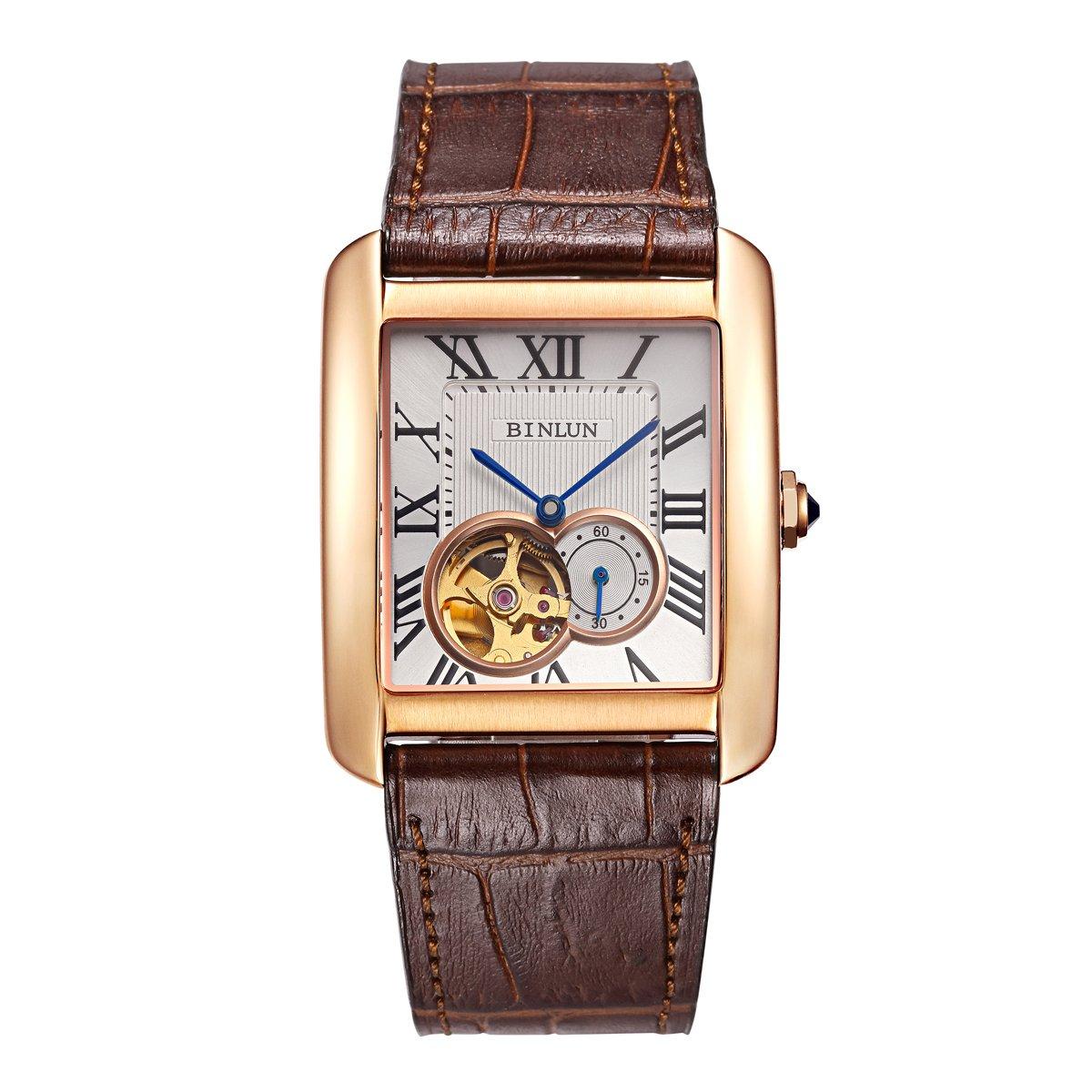 Binlun Men's Rectangle Shape Gold-Plating Business Mechanical Self-Winding Watch Brown Leather Band by BINLUN