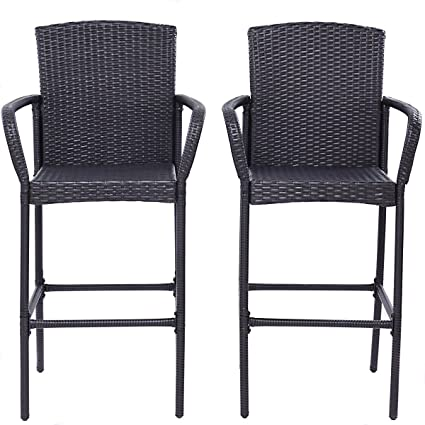 MD Group Patio Dining Chair Seat Garden Rattan Bar Stool Lightweight 2pcs Outdoor  Furniture - Amazon.com: MD Group Patio Dining Chair Seat Garden Rattan Bar Stool