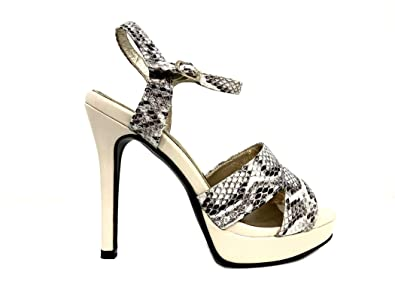 Sandal High Snake Sandalen Beige Zeremonie Frau Plateau Ferse kXP0wZON8n