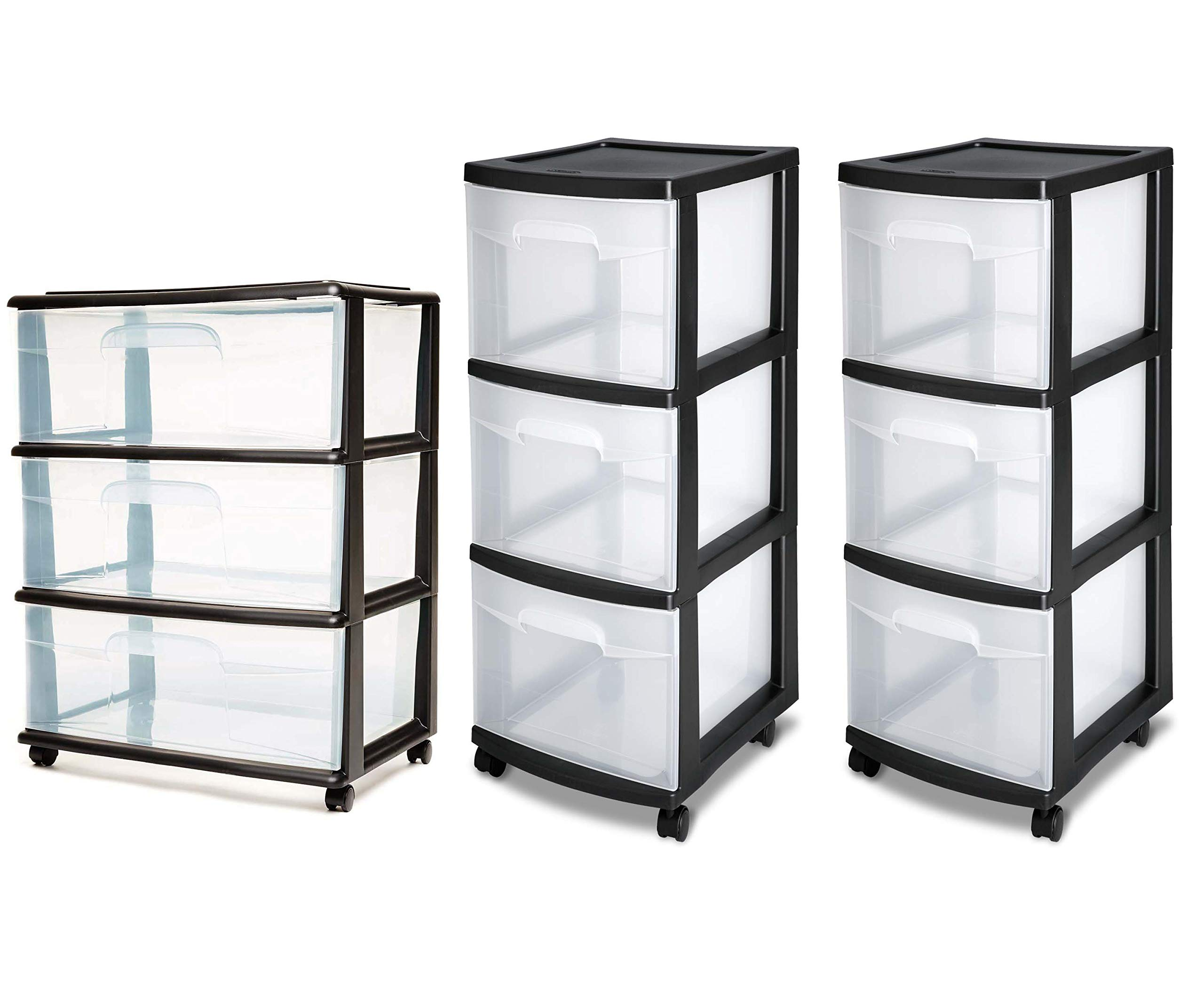 Homz 3 Drawer Wide Cart with Casters/Wheels, Set of 1 Bundle with Sterilite, 3 Drawer Cart in 2-Count
