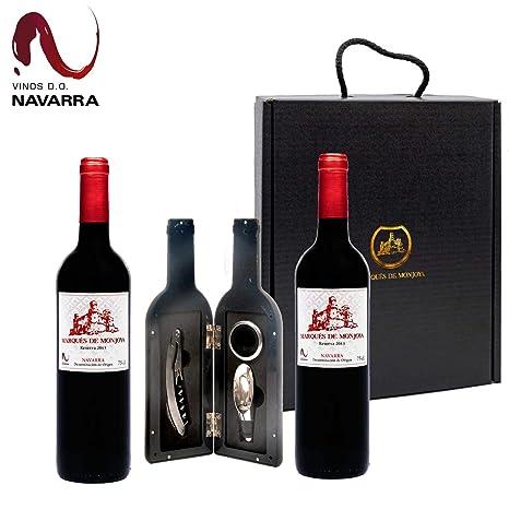 Caja Regalo Vino - Pack de 2 Botellas de Resevas + Kit Accesorios con Abrecorchos Aireador y Anillo Antigoteo con estuche - Regalo Original – D.Origen ...