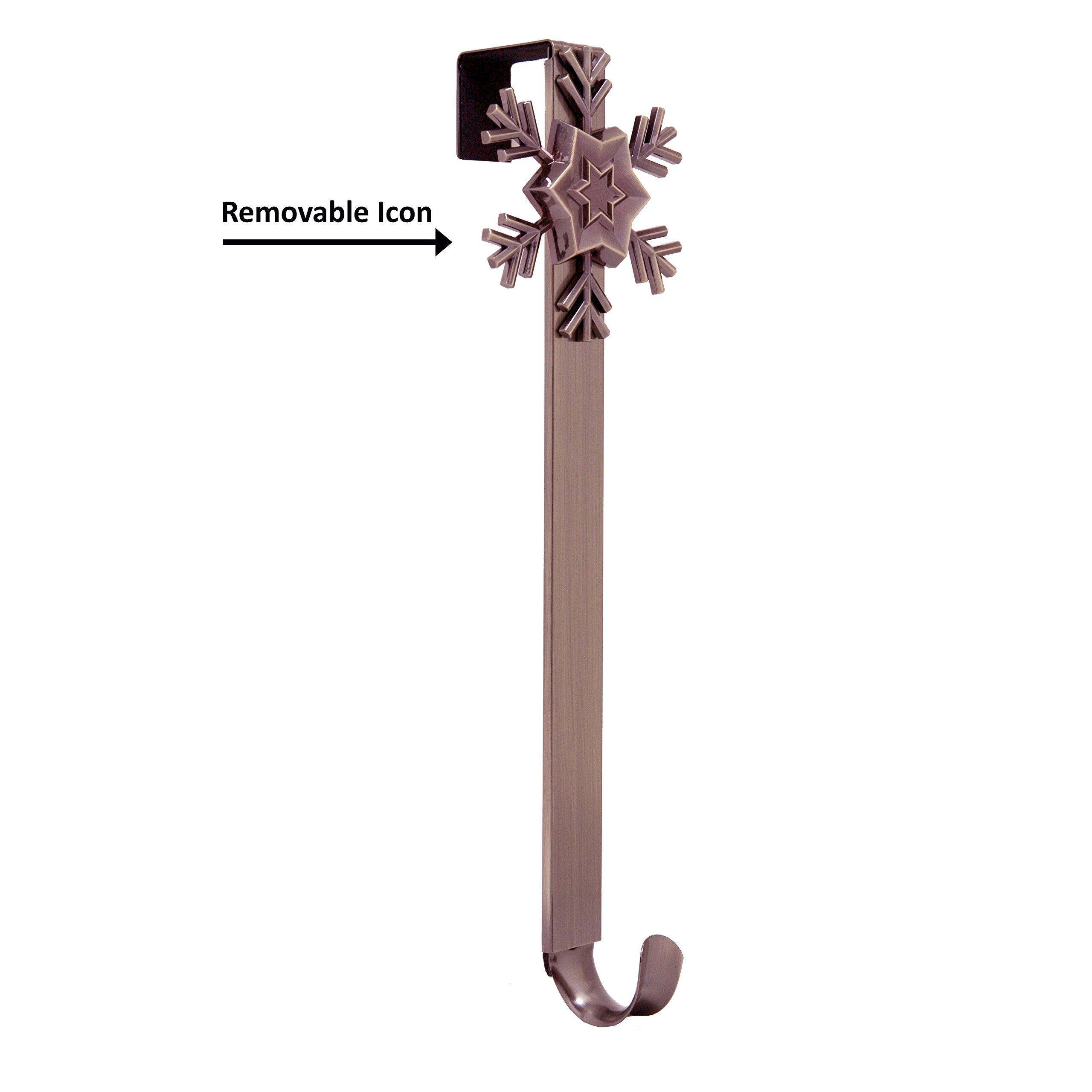 Adjustable Length Wreath Hanger with Removable Icon (Oil-Rubbed Bronze - Snowflake)