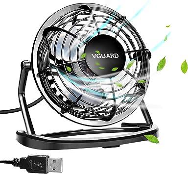 VGUARD 4 Pulgadas Mini Ventilador USB Silencioso, Ventilador de Mesa Potente USB Fan con Ajustable 360 Grados de Rotación para Personal Portátil de Escritorio Hogar Oficina o Viaje: Amazon.es: Electrónica