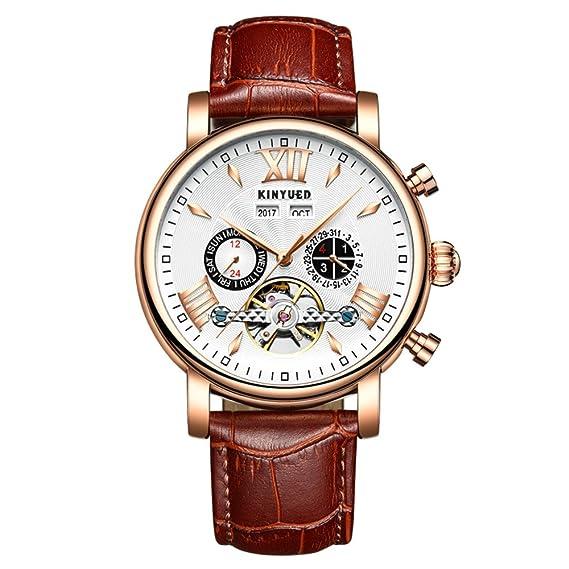 Relojes para Hombre con Calendario perpetuo, Cuero Volando Tourbillon Impermeable, mecánicos, automáticos: Amazon.es: Relojes