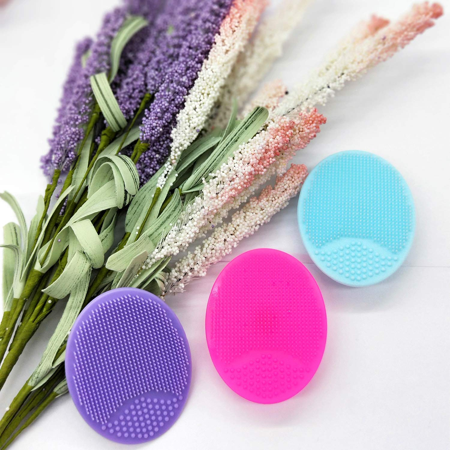 HieerBus Facial Cleansing Brush,Soft Silicone Face Scrubber,Facial Exfoliation Scrub for Massage Pore Cleansing Blackhead Removing Deep Scrubbing for All Kinds of Skins (2ed-Blue+Red): Beauty