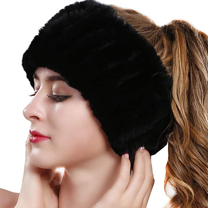 Warm /& Luxurious for Winter Style Real Fur Knit Headwrap OBURLA Genuine Fur Headband and Neck Warmer for Women