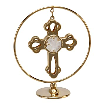 Crystocraft Gold Circle Ring Cross With Clear Swarovski
