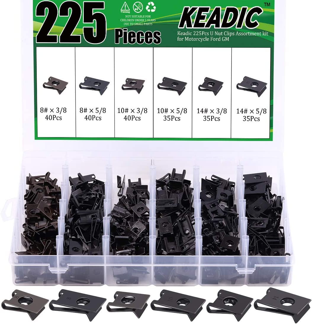 Keadic 226Pcs U Nut Clips Assortment kit for Motorcycle Ford GM