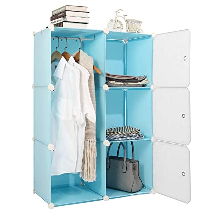 finest selection d1232 85eb3 Jamohom Portable Wardrobe Closet Bedroom Clothes Armoire Dresser Organizer  Cube Storage Organizer (Blue, 6 Cube)