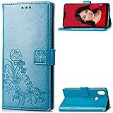 LAGUI Funda Xiaomi Mi A2 Lite, Relieve Dibujo Carcasa de Tipo Libro con Ranuras para Tarjetas de Soporte Horizontal y Solapa con Cierre magnético, Azul