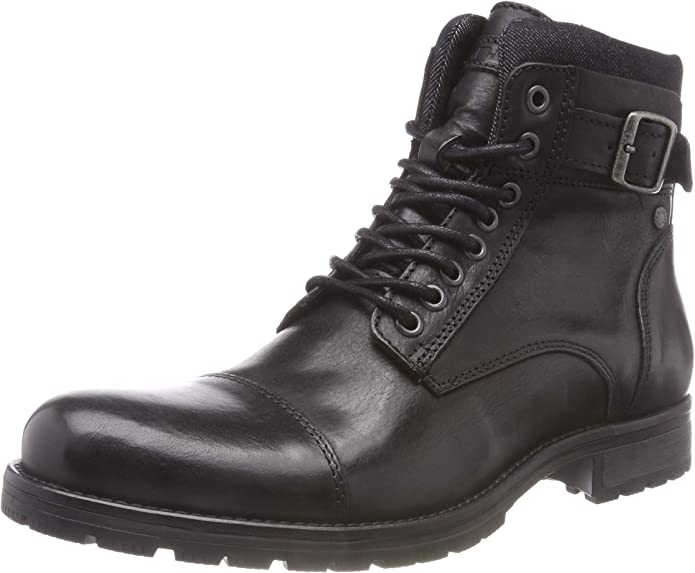 TALLA 41 EU. Jack & Jones Jfwalbany Leather Anthracite STS, Botas Estilo Motero para Hombre