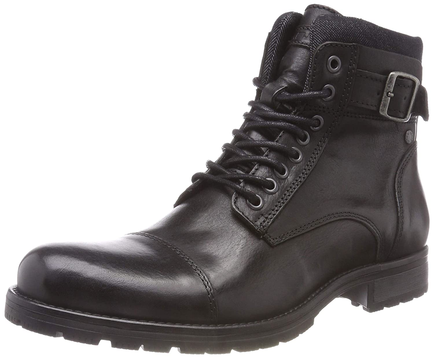 TALLA 43 EU. Jack & Jones Jfwalbany Leather Anthracite STS, Botas Estilo Motero para Hombre