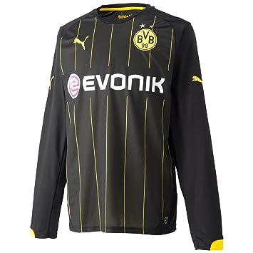 Puma Borussia Dortmund Away L/S Shirt 2014 2016 Black Black-Cyber Yellow  Size