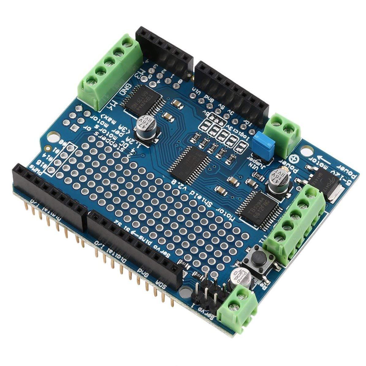 WEIWEITOE Bouclier bleu durable durable de moteur//moteur pas /à pas//servo//robot pour Arduino v2 avec le bouclier de conducteur de PWM 68 x 52 x 20mm,