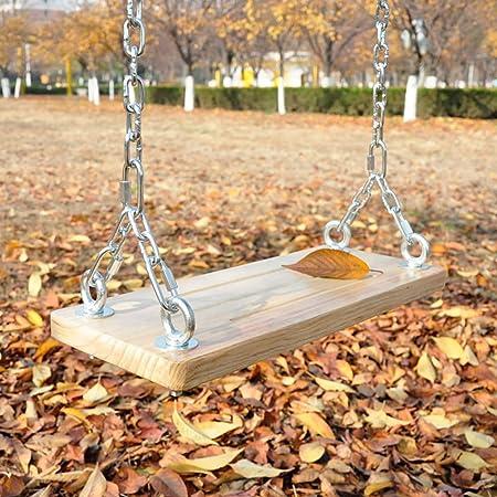 F-JX Jardín árbol Asiento del Columpio, con Cadenas de Acero, Ampliación de sólidos e Impermeables oscilación de Madera Porche, para Adultos y niños al Aire Libre y Cubierta,60x20cm: Amazon.es: Hogar