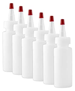 2-Ounce Plastic Squeeze Bottles (6-Pack); HDPE Squeeze Bottles for Crafts, Food, Art, Glue, Multi-Purpose