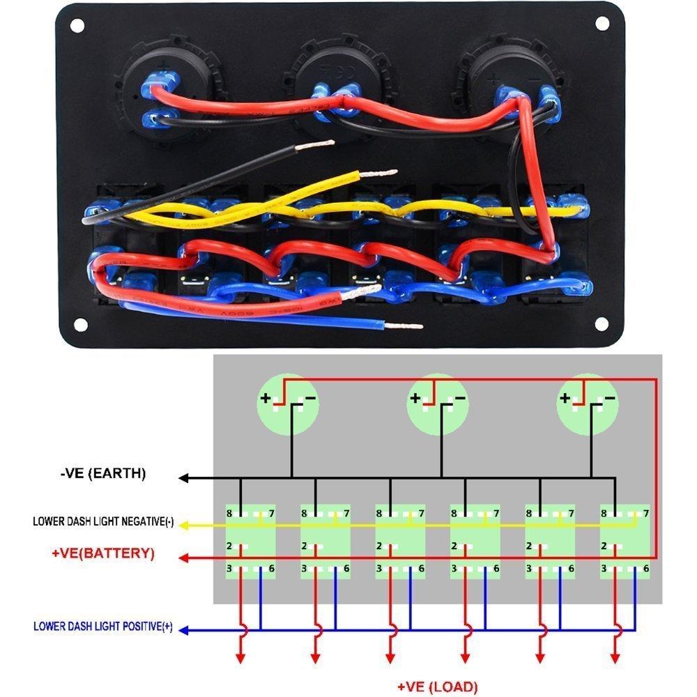 DCFlat 6 Gang circuito LED coche Marine Boat Rocker Switch panel Dual USB interruptor Protecci/ón contra sobrecarga 6 pandilla panel de aluminio