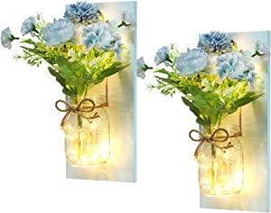 Propio Espacio EmiLuces Collection Mason Jar Sconces 3D Wall Art Hanging Fairy String LED with 6 Hour Timer, Pastel Blue Chrysanthemum Peony for Modern Nordic Chic Decor (Set of 2)