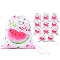 Watermelon Drawstring Backpack - 12 Pack 10'' x 12'' Watermelon Party Gifts Bags for Girls Kids String Pink Bags Drawstring Pouches Wrap Goodie Bags One in A Melon Party Supply for Birthday