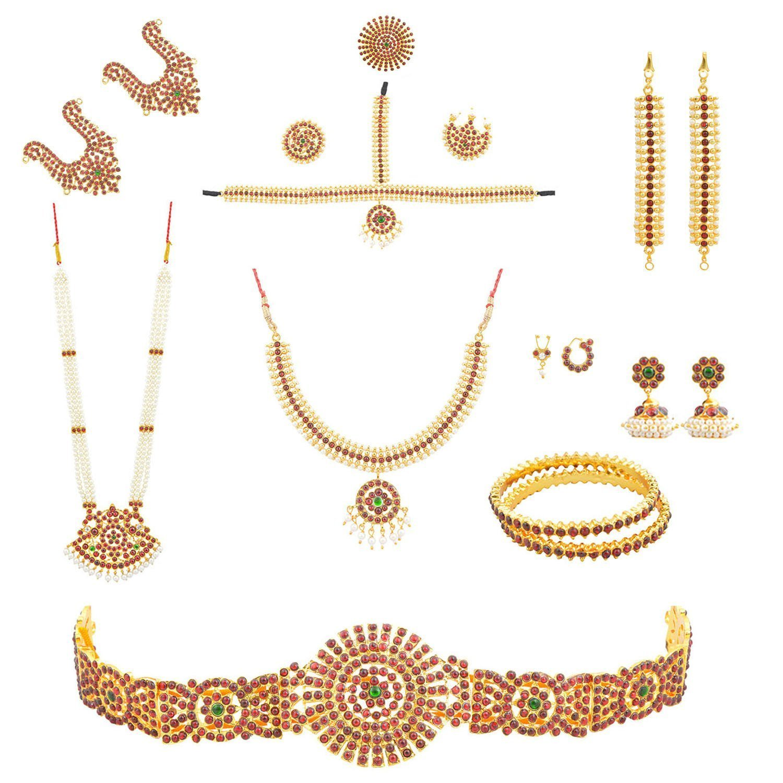 fashionAtelier Multi Color Full bharatanatyam Dance Set (10 Items)