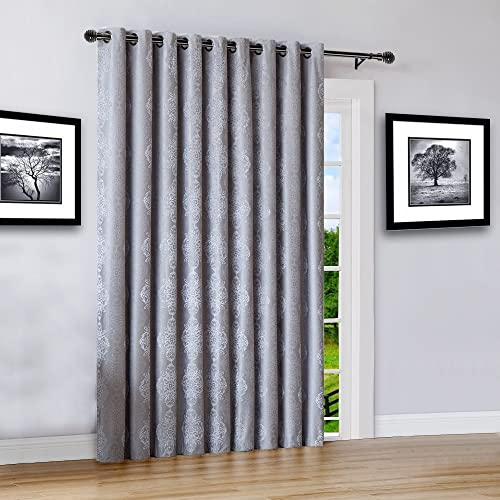 Warm Home Designs Extra Wide 110 x 84 Grey Silver 100 Blackout Insulated Thermal Patio Door Panel. Drapery Can Be Used As Room Breaker or Sliding Door Curtains. RO Silver 110 x 84