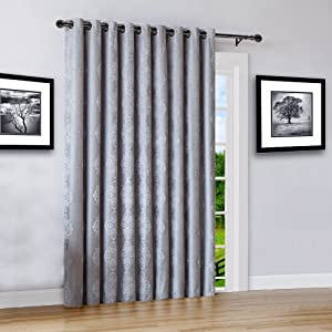 """Warm Home Designs Extra Wide 110"""" x 84"""" Grey Silver 100% Blackout Insulated Thermal Patio Door Panel. Drapery Can Be Used As Room Breaker or Sliding Door Curtains. JE Silver 110 x 84"""