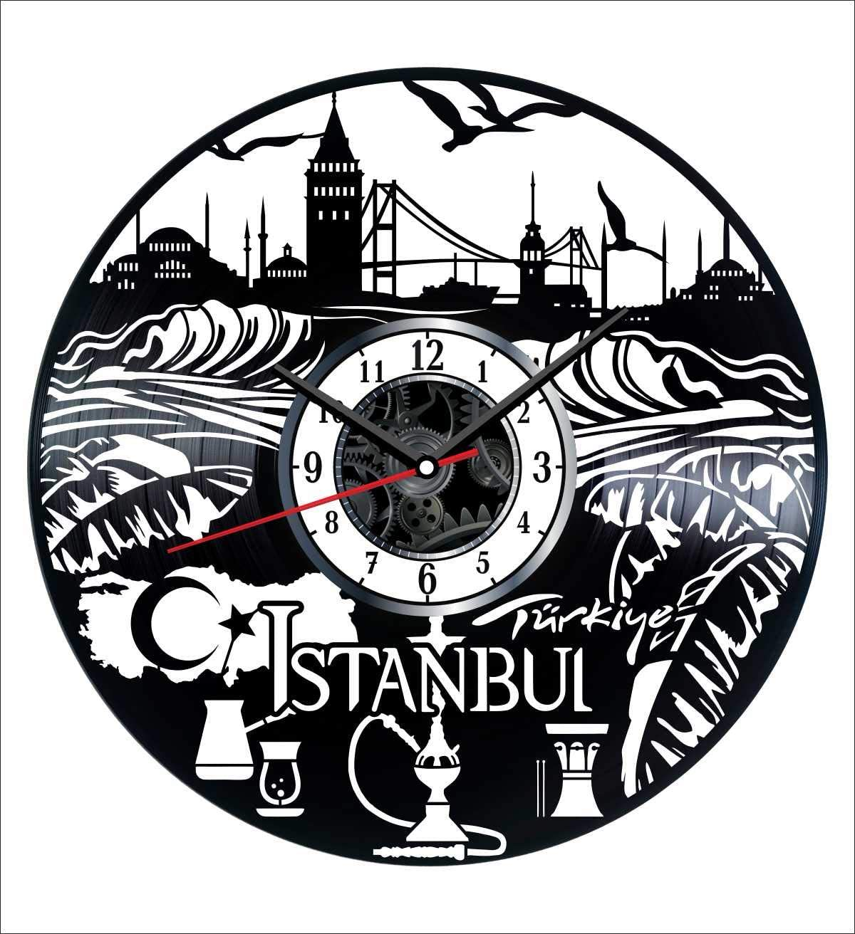 Turkey Istanbul Vinyl Wall Clock Vintage Record - Get Unique Home and Office Decor Bedroom Kitchen Kids Living Room - Gifts for Men Women Kids Father Mother - Wall Art Design - Free Personalization