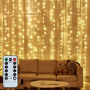 LED String Light 300 LED Lights 8 Modes Control Decoration USB Powered Waterproof Lights for Curtain Christmas Bedroom Party Wedding Home Garden (9.8ft X 9.8ft ,Warm White)