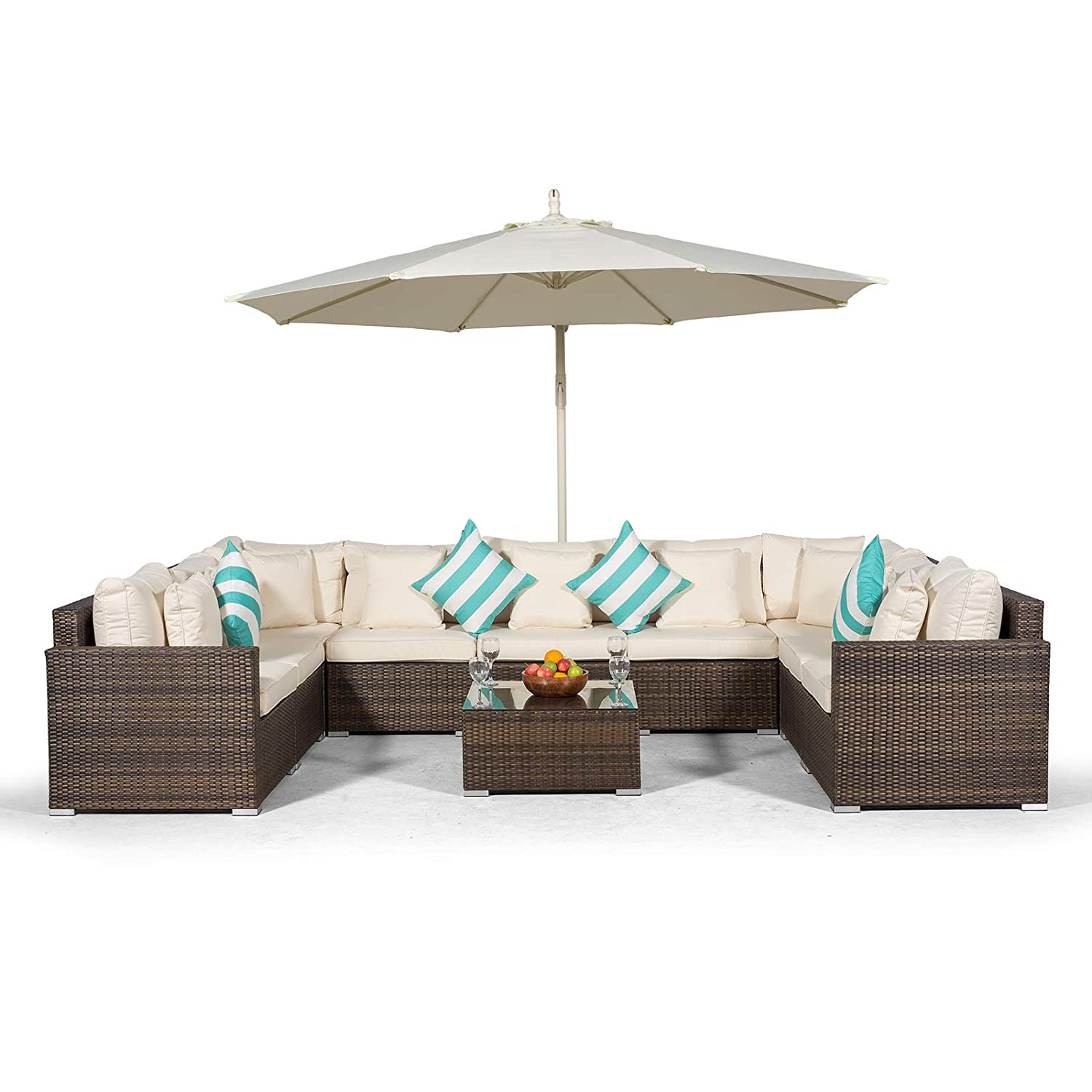 Set Giardino In Rattan.Giardino Havana 9 Seater Brown U Shaped Large Rattan Sofa Set 11