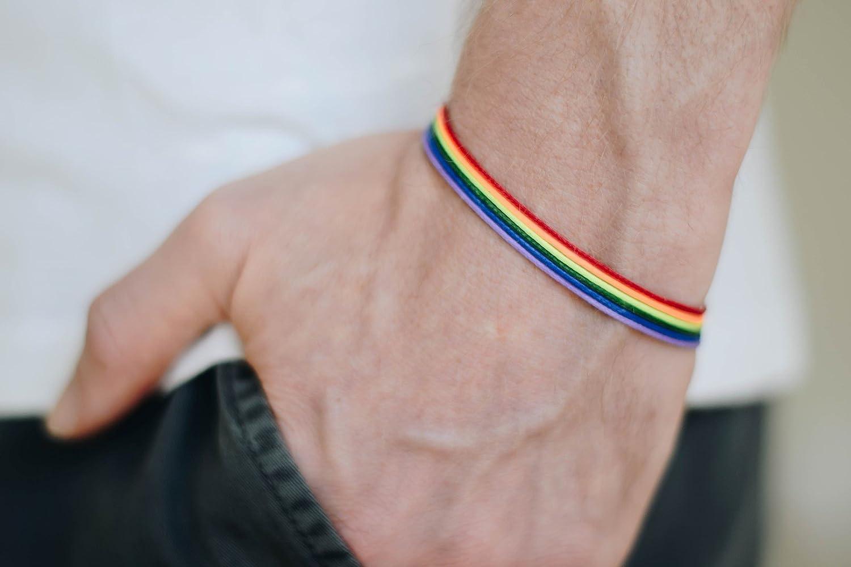 Pride bracelet, rainbow flag colors, LGBT string bracelet for men, men's bracelet, strand only, gay, gift for him, no charm, mens jewelry men's bracelet