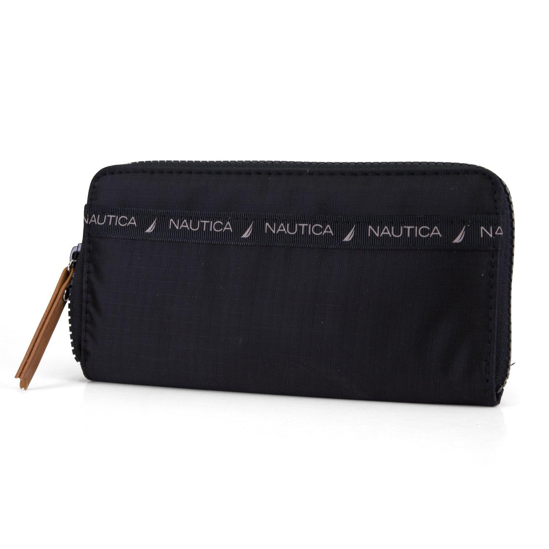 Nautica Nylon Zip Around Womens Clutch Wallet With Removable Wristlet Strap (Black)