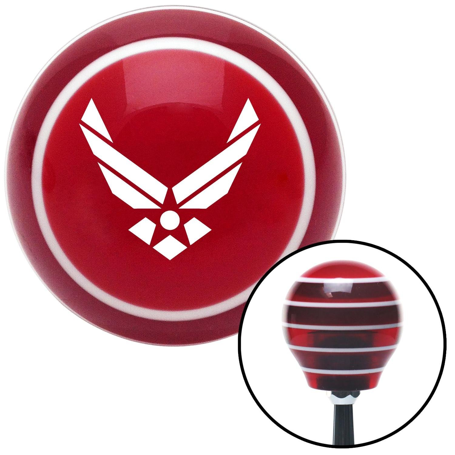 White The Air Force Symbol American Shifter 115289 Red Stripe Shift Knob with M16 x 1.5 Insert