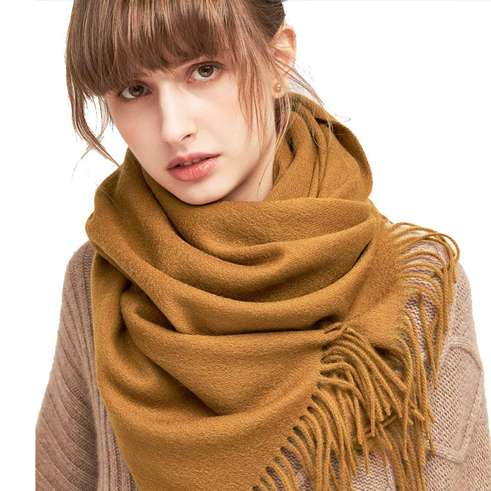 golden camel QAR Autumn and Winter Solid color Wool Scarf Korean Students Winter Wild Small Shawl Dualuse Ladies Thick Bib Scarf (color   Light orange)