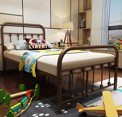 URODECOR Metal Bed Frame Twin Size Headboard and Footboard