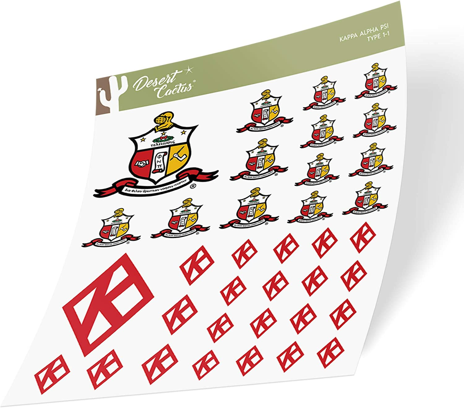 Kappa Alpha Psi Multiple Size Sticker Decal Laptop Water Bottle Car (Sheet - Type 1)