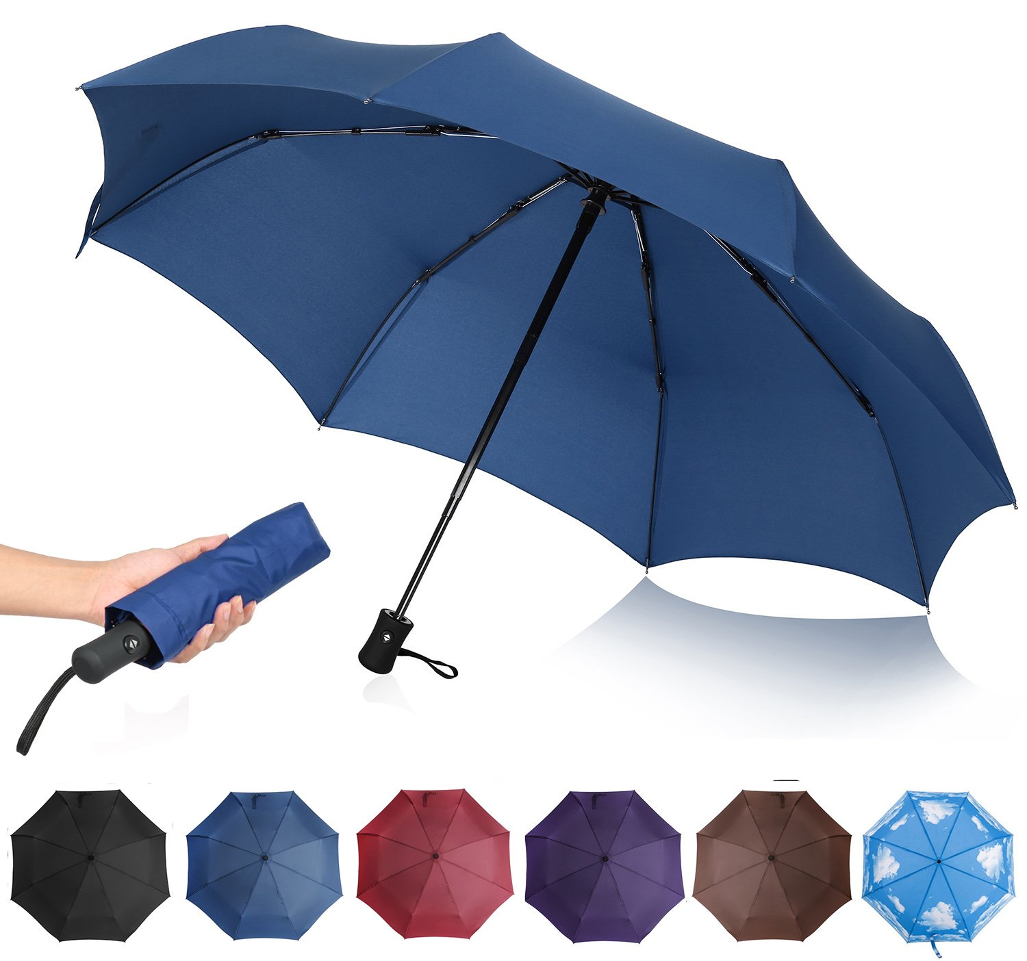 QHUMO Compact Travel Umbrella Windproof, Auto Open Close Umbrellas for Women Men