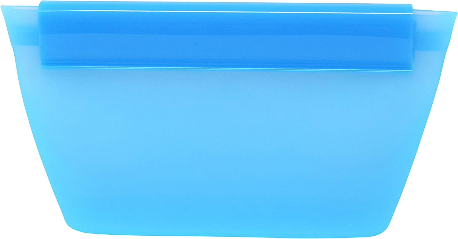 Zippware Reusable Silicone Containers, UPDATED BOWL BPA Free Food Storage Bags for Sandwiches, Sous Vide, Lunch, Baby Food & Meal Prep, Microwave, Dishwasher & Freezer Safe (Blue, Small 3 Pieces)