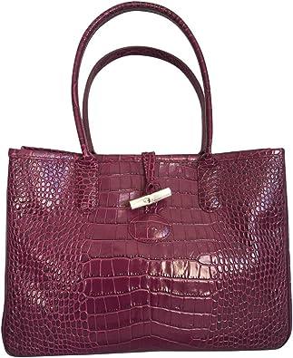Amazon.com: Longchamp Roseau Crocodile-embossed Shoulder Bag ...