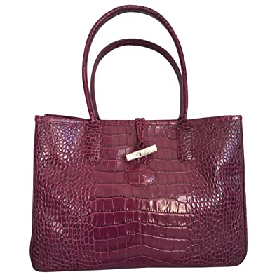 Image Unavailable. Image not available for. Color  Longchamp Roseau  Crocodile-embossed Shoulder Bag ... 8b34f0befd