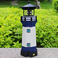 Solar Garden Lighthouse, White and Blue Lighthouse statutte with Rotating Lamp Outdoor Decorative LED Lights for Garden…