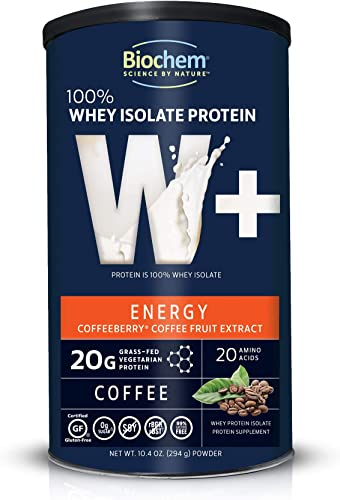 Biochem 100 Whey Isolate Protein – Energy – 8.6 Ounce – Coffee Flavor – 20g Vegetarian Protein – Amino Acids – Coffeeberry – Refreshing Taste – Easily Digestible