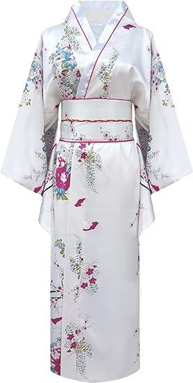Kimono de japonesa-Disfraz para mujer, diseño de geisha blanco ...